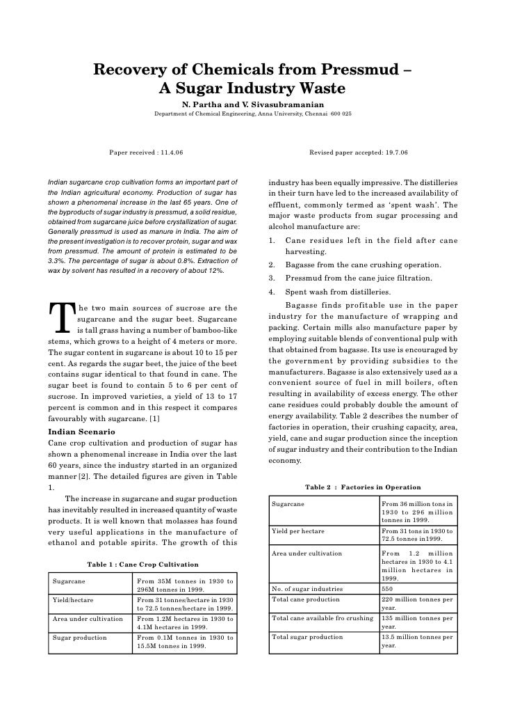 Indian Chemical Engr. Section A, Vol. 48, No.3, July-Sept. 2006                Recovery of Chemicals from Pressmud –      ...