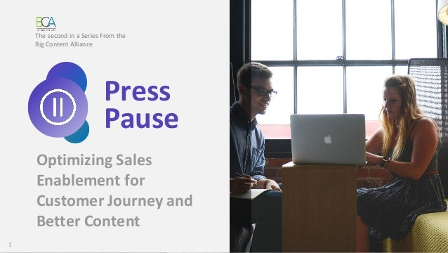 1 Optimizing Sales Enablement for Customer Journey and Better Content The second in a Series From the Big Content Alliance...