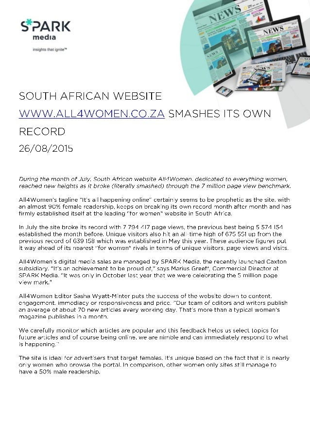 """S*PAR K  media  insights that ignite""""  SOUTH AFRICAN WEBSITE  WWW. ALL4WOlVlEll. CO. ZA SMASHES ITS OWN  RECORD 26/O8/20l5..."""