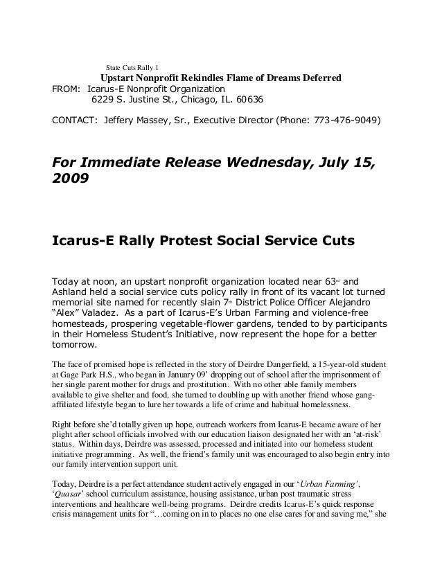 State Cuts Rally 1  Upstart Nonprofit Rekindles Flame of Dreams Deferred FROM: Icarus-E Nonprofit Organization 6229 S. Jus...