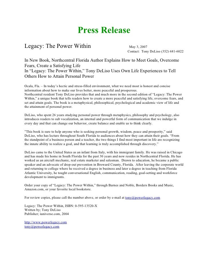 Press Release Legacy: The Power Within                                                  May 3, 2007                       ...