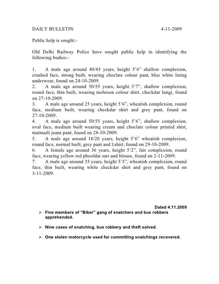 DAILY BULLETIN                                                4-11-2009  Public help is sought:-  Old Delhi Railway Police...