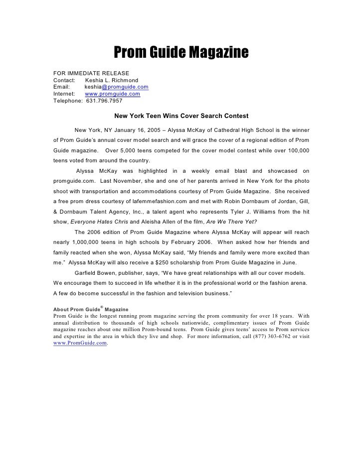 Writing Sample Press Release Prom Guide Magazine FOR IMMEDIATE RELEASE Contact Keshia L Richmond Email
