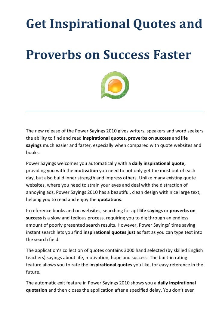 Get Inspirational Quotes And Proverbs On Success Faster