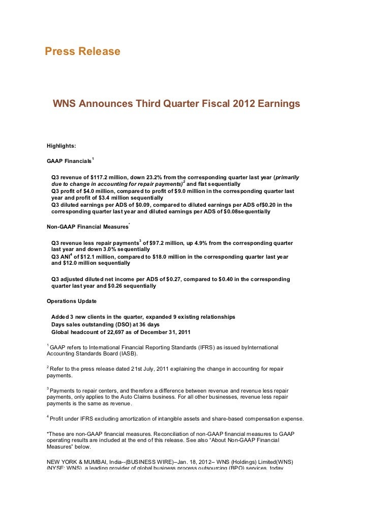 Press Release     WNS Announces Third Quarter Fiscal 2012 EarningsHighlights:                    1GAAP Financials    Q3 re...