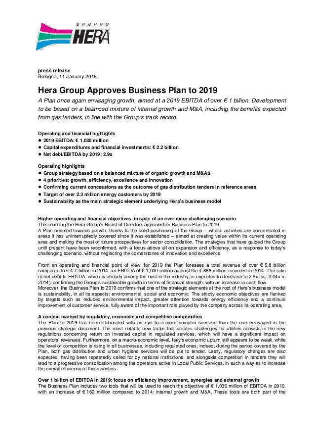 Hera Group Approves Business Plan to 2019