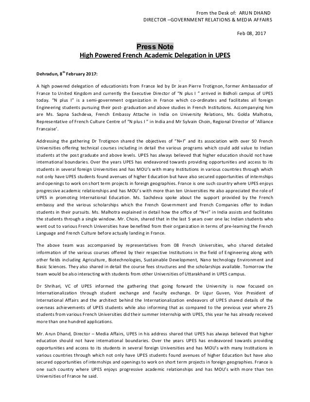 From the Desk of: ARUN DHAND DIRECTOR –GOVERNMENT RELATIONS & MEDIA AFFAIRS Feb 08, 2017 Press Note High Powered French Ac...
