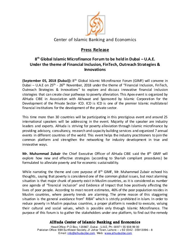 Press Release - 8th Global Islamic Microfinance Forum