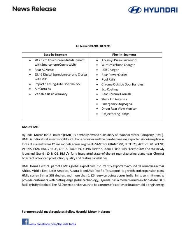 Hyundai Grand i10 NIOS launch - Press Release