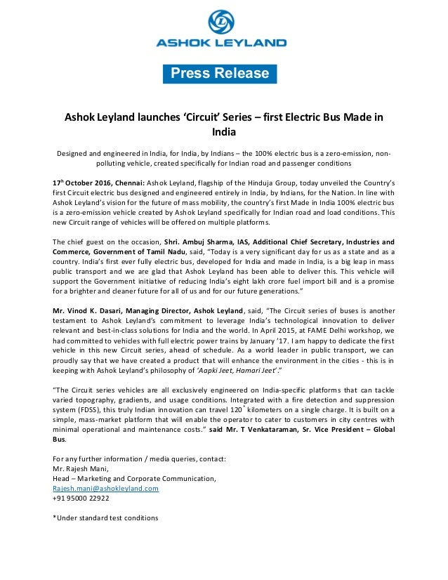 Ashok Leyland Circuit Series Electric Bus  Press Release