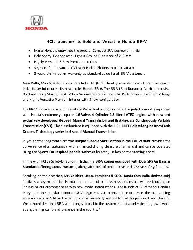 honda br  india launch press release