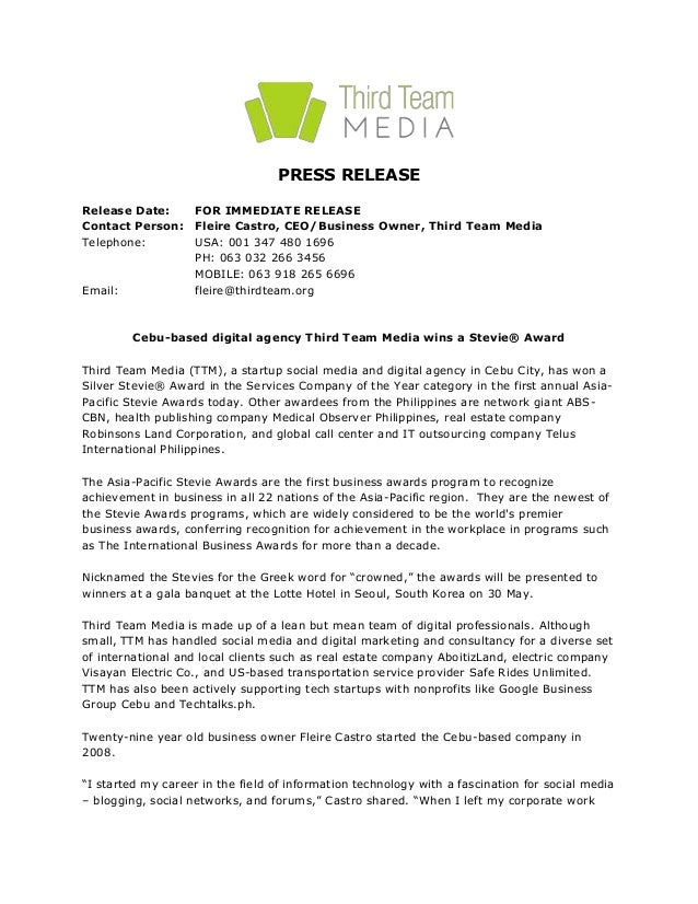 ceo press release template - press release cebu based digital agency third team media