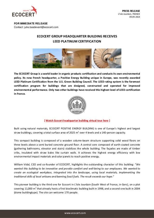 Press Release Ecocert Headquarter Receives Leed Certification 10092