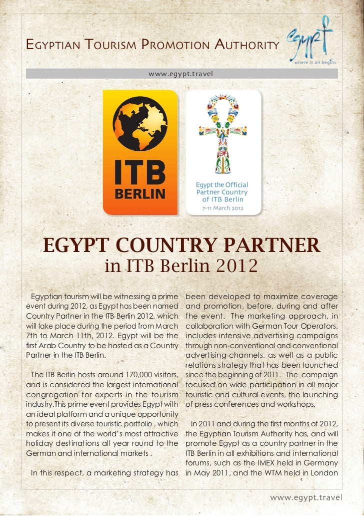 EGYPTIAN TOURISM PROMOTION AUTHORITY                                      www.egypt.travel     EGYPT COUNTRY PARTNER      ...
