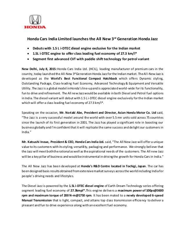 honda jazz india launch press release