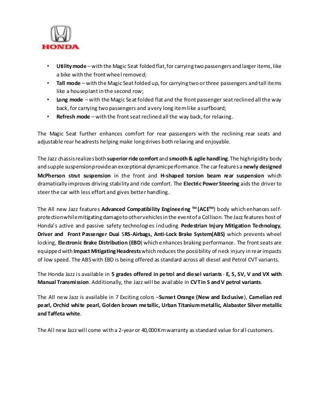 new car launch press releaseNew Honda Jazz India Launch  Press Release