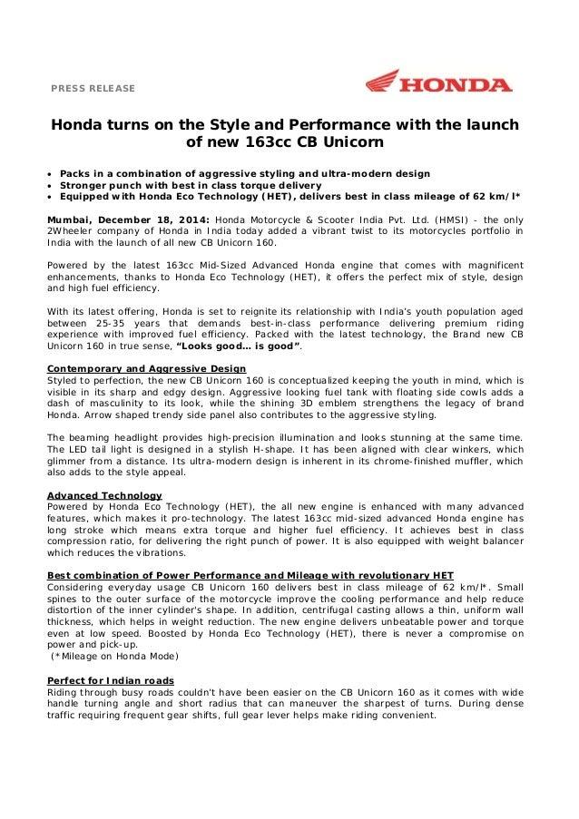 honda cb unicorn  launch press release