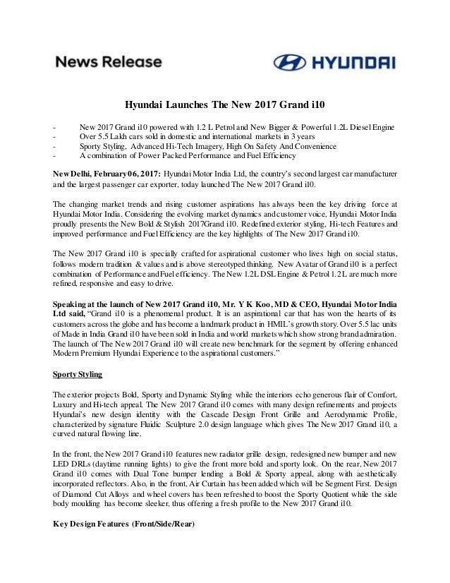new car launch press releaseNew Hyundai Grand i10 Launch  Press Release