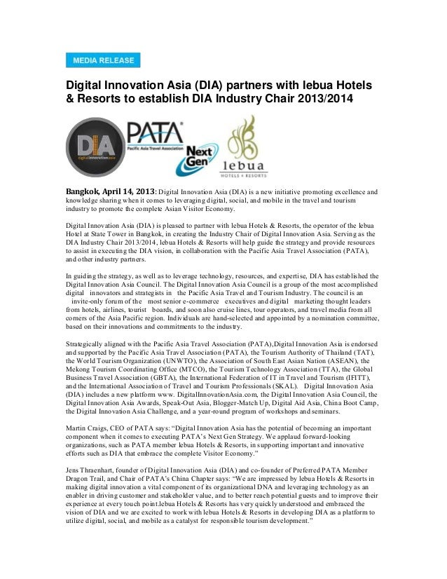 Digital Innovation Asia (DIA) partners with lebua Hotels& Resorts to establish DIA Industry Chair 2013/2014Bangkok, April ...