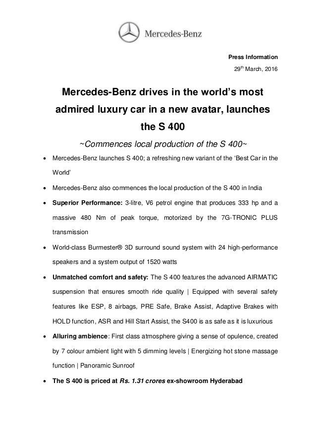 new car press releaseMercedes Benz S 400 India Launch  Press Release