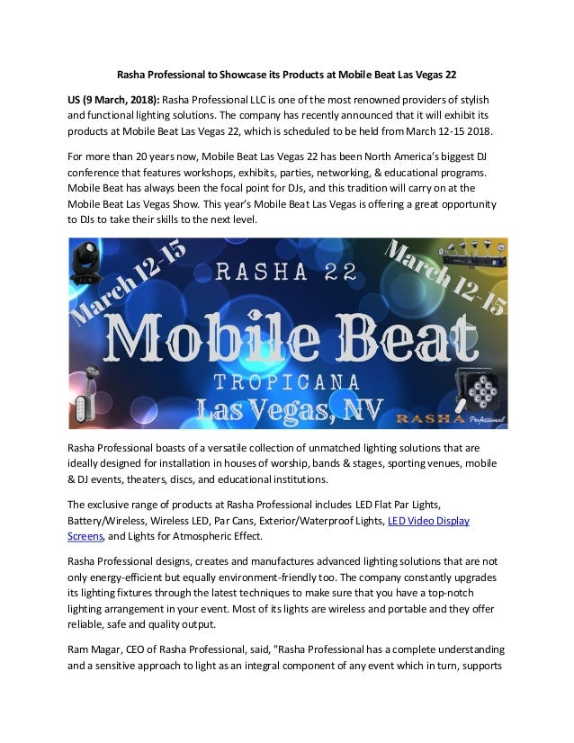 Rasha Professional Exhibits Its Lighting Solutions At Mobile Beat Las