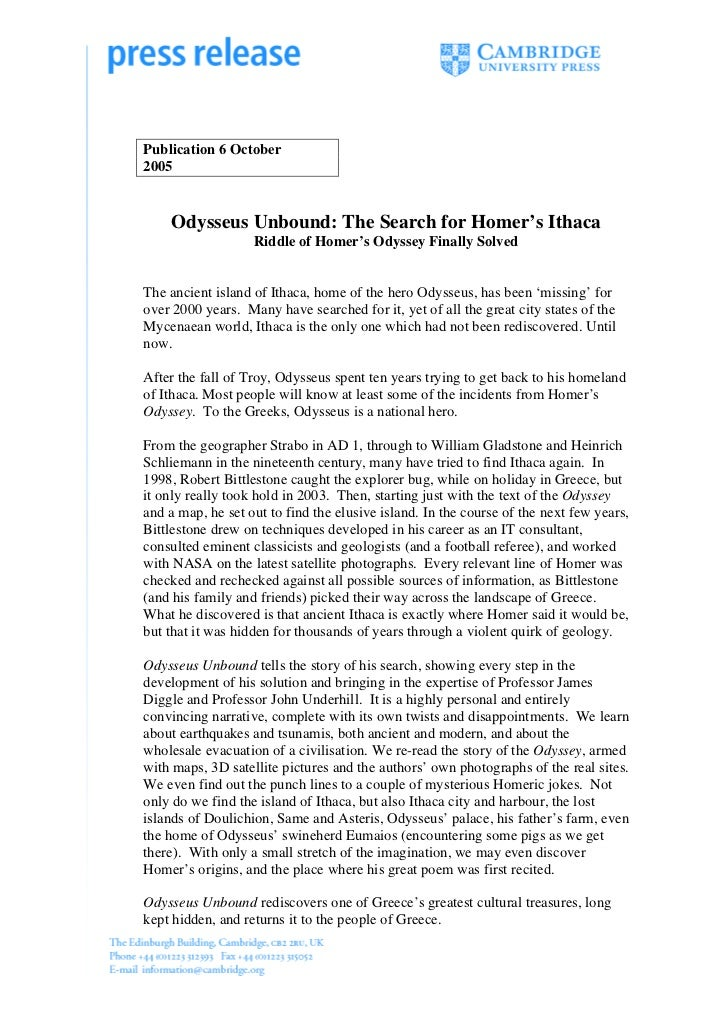 Publication 6 October2005    Odysseus Unbound: The Search for Homer's Ithaca                   Riddle of Homer's Odyssey F...