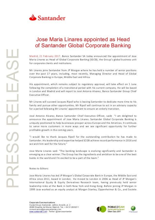 PRESSRELEASE Corporate Communications Ciudad Grupo Santander, edificio Arrecife, pl. 2 28660 Boadilla del Monte (Madrid). ...