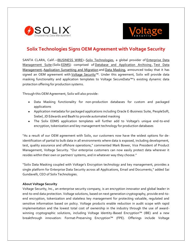 Press release solix technologies signs oem agreement with voltage s solix technologies signs oem agreement with voltage security santa clara calif thecheapjerseys Images