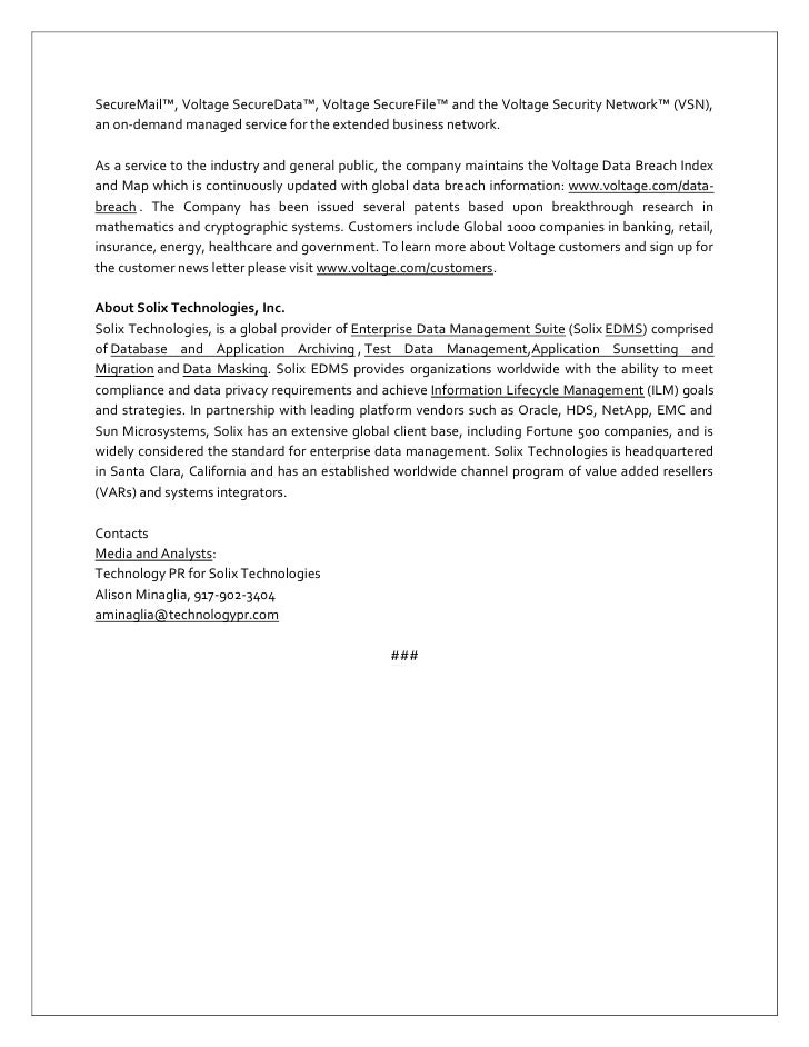 Press Release Solix Technologies Signs Oem Agreement With
