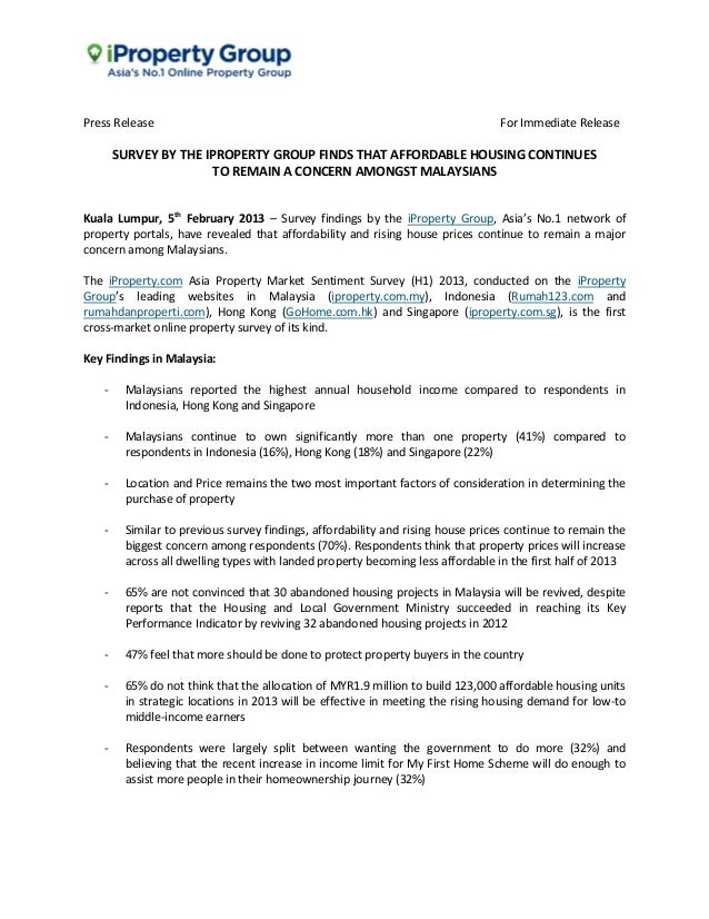 Press Release                                                                   For Immediate Release       SURVEY BY THE ...