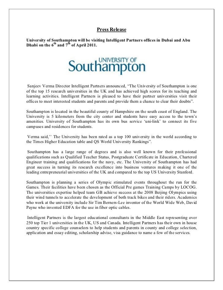 Press ReleaseUniversity of Southampton will be visiting Intelligent Partners offices in Dubai and AbuDhabi on the 6th and ...