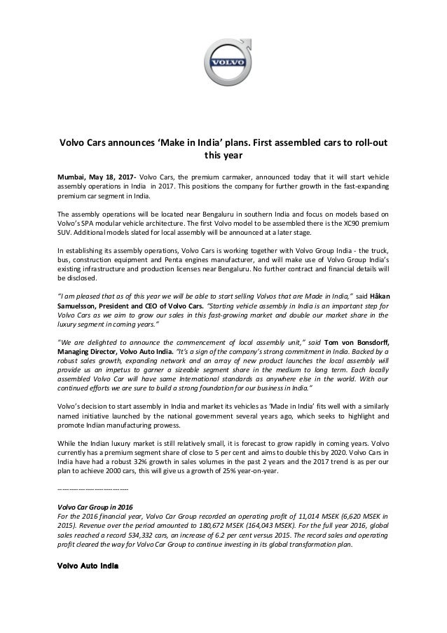 Volvo Cars India Will Make Cars In India Press Release