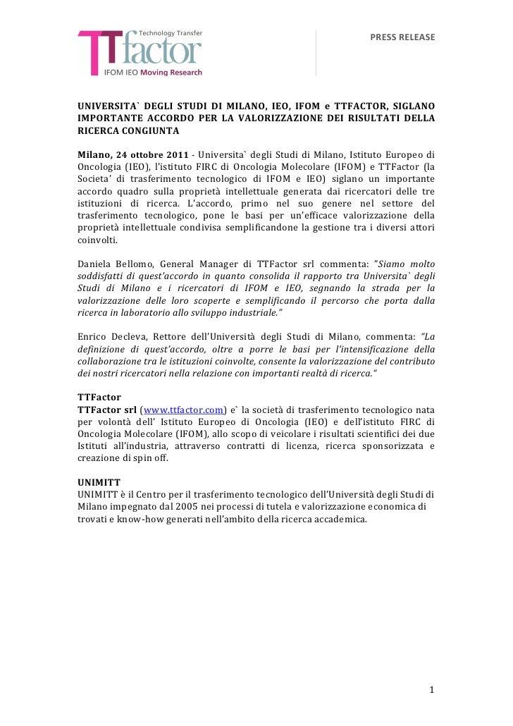 PRESS RELEASE                                                      UNIVERSITA`  DEGLI  STUDI  DI  MIL...