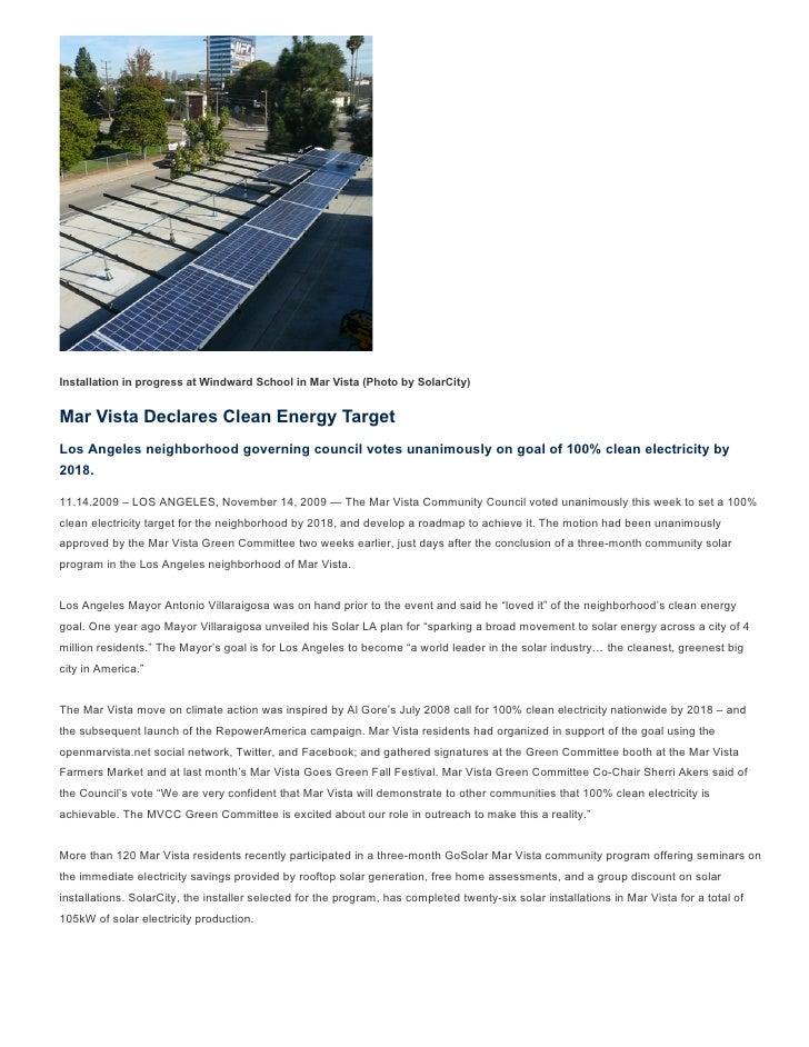 Installation in progress at Windward School in Mar Vista (Photo by SolarCity)   Mar Vista Declares Clean Energy Target Los...