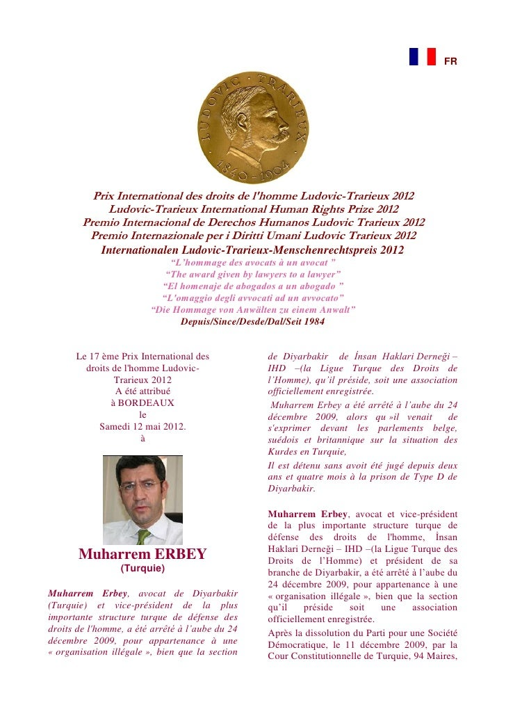 FR          Prix International des droits de lhomme Ludovic-Trarieux 2012             Ludovic-Trarieux International Human...