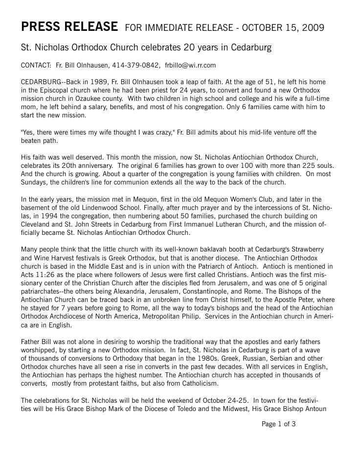 PRESS RELEASE                       FOR IMMEDIATE RELEASE - OCTOBER 15, 2009St. Nicholas Orthodox Church celebrates 20 yea...