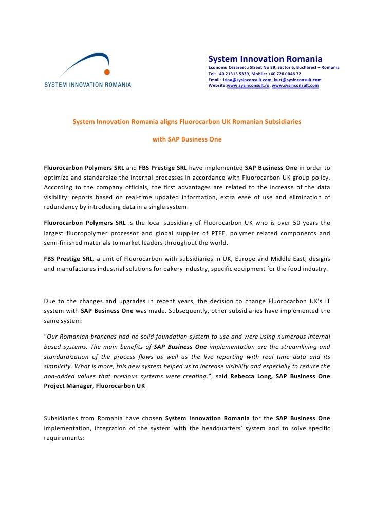 System Innovation Romania aligns Fluorocarbon UK Romanian Subsidiarie…