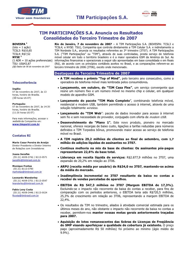TIM Participações S.A.                            TIM PARTICIPAÇÕES S.A. Anuncia os Resultados                            ...