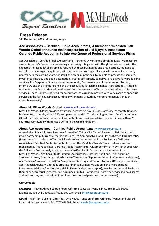 Press Release 31st December, 2015, Mombasa, Kenya Ace Associates – Certified Public Accountants, A member firm of McMillan...