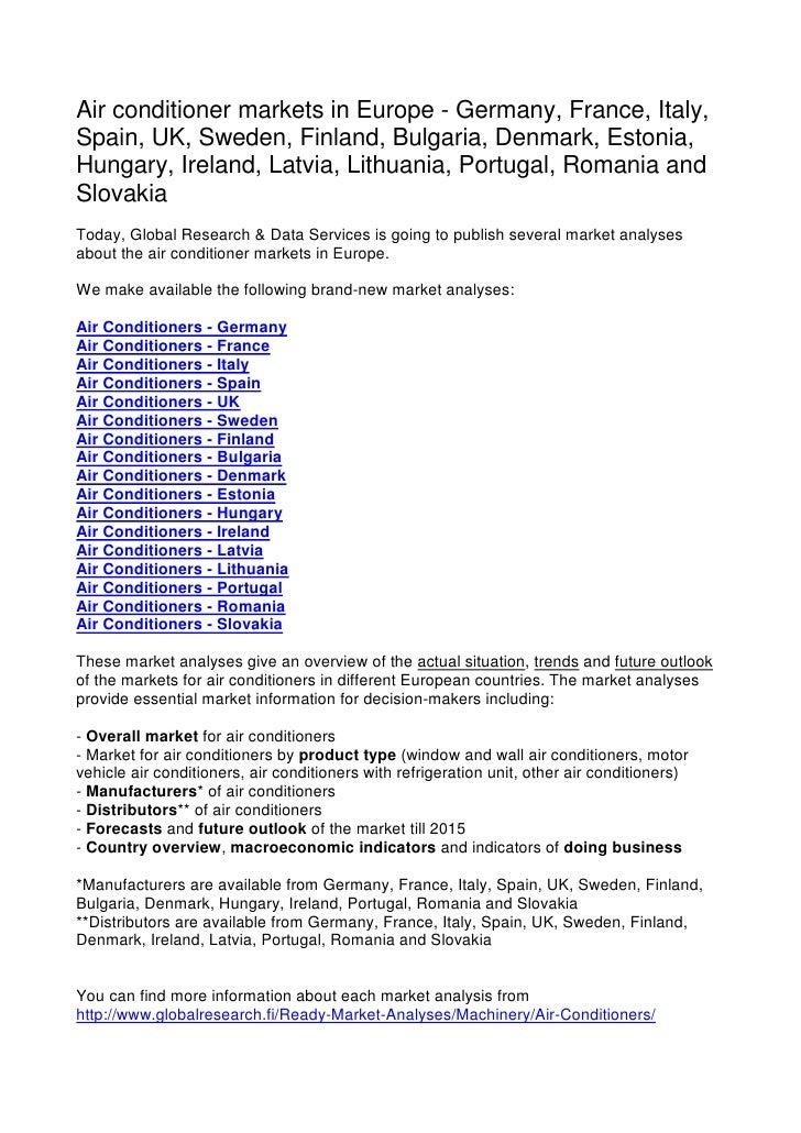 Air conditioner markets in Europe - Germany, France, Italy, Spain, UK, Sweden, Finland, Bulgaria, Denmark, Estonia, Hungar...