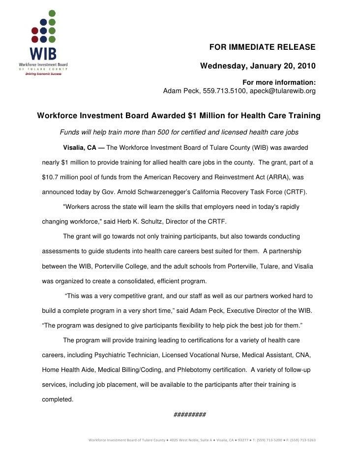 Press release allied health jan2010