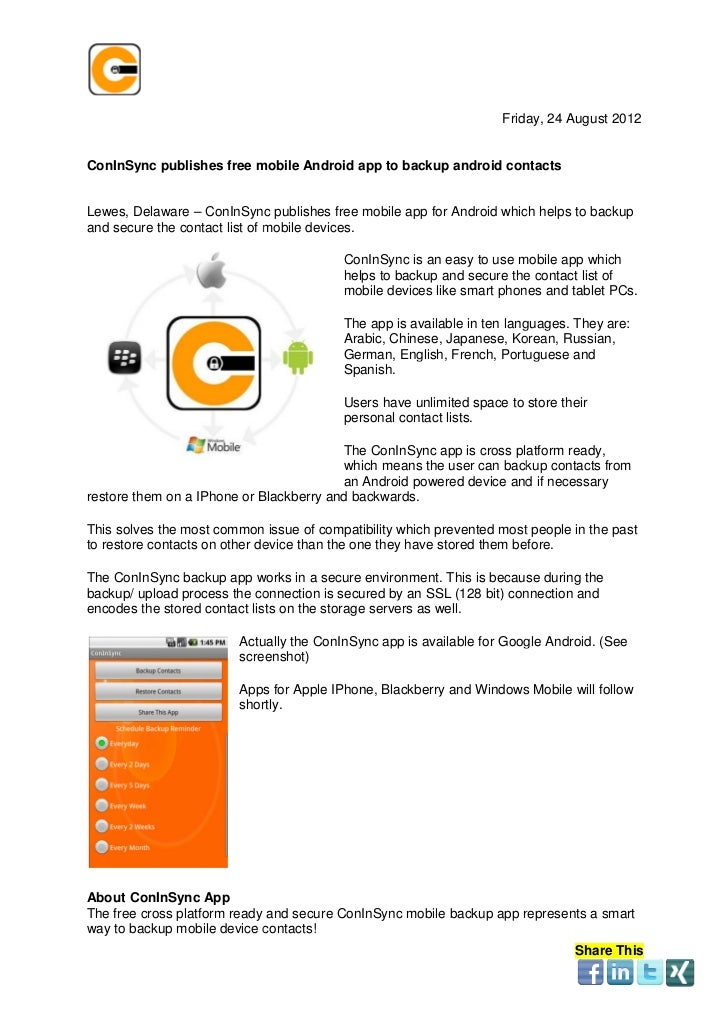 Press Release - Breaking News ConInSync publishes free