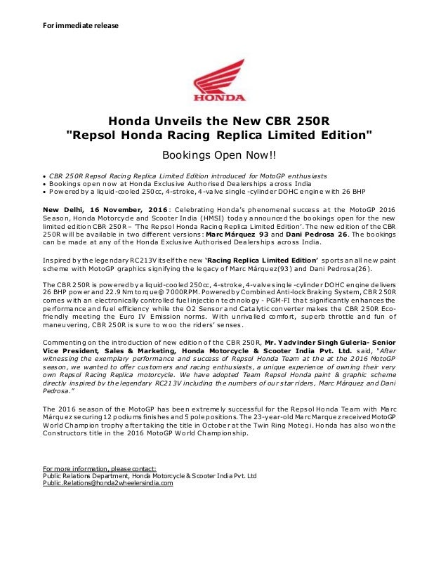 honda cbrr limited edition press release