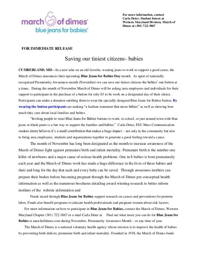 Press Release Content Writing Sample March Of Dimes