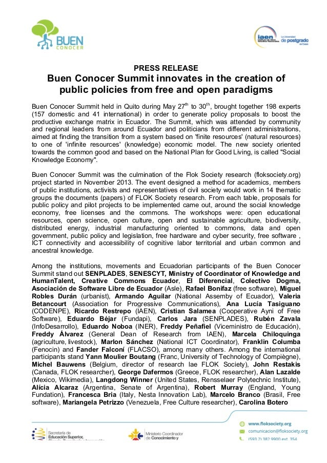 PRESS RELEASE Buen Conocer Summit innovates in the creation of public policies from free and open paradigms Buen Co...