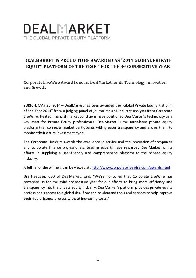 """1 DEALMARKET IS PROUD TO BE AWARDED AS """"2014 GLOBAL PRIVATE EQUITY PLATFORM OF THE YEAR """" FOR THE 3rd CONSECUTIVE YEAR Cor..."""