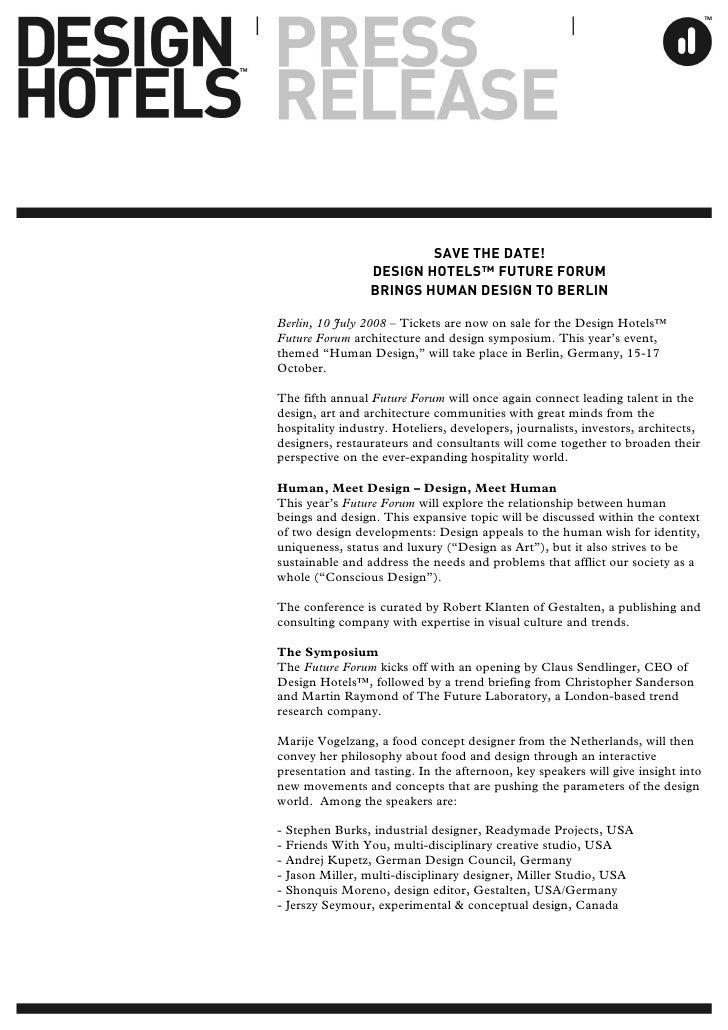 21f726ae6f97e DESIGN HOTELS - PRESS RELEASES 2008: SAVE THE DATE! DESIGN HOTELS™ FUTURE  FORUM BRINGS HUMAN DESIGN TO BERLIN