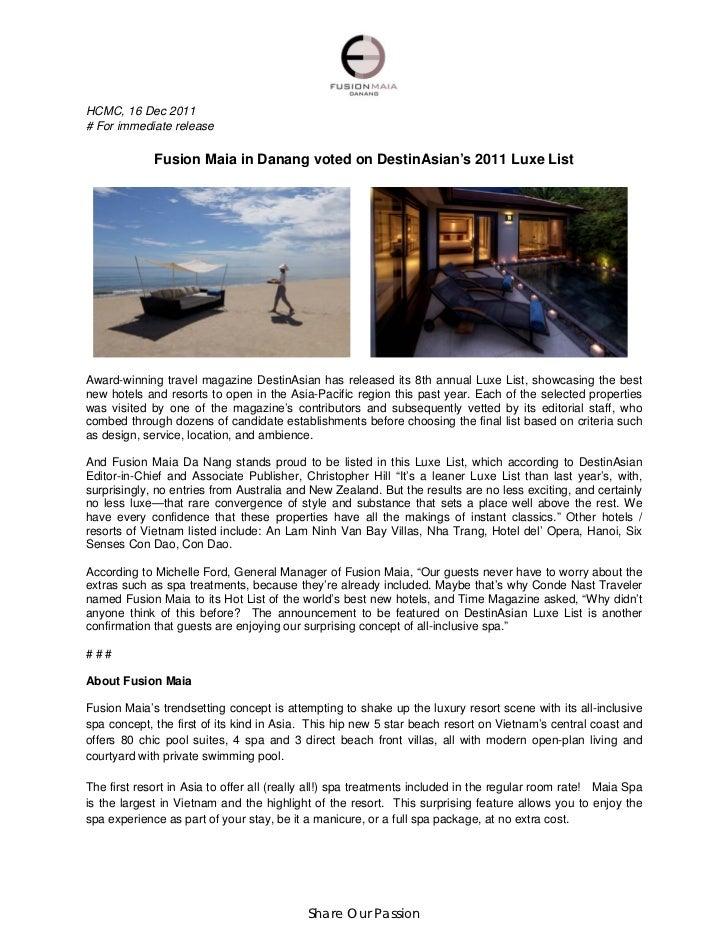 HCMC, 16 Dec 2011# For immediate release             Fusion Maia in Danang voted on DestinAsian's 2011 Luxe ListAward-winn...
