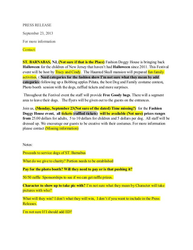 PRESS RELEASE September 23, 2013 For more information Contact: ST. BARNABAS, NJ, (Not sure if that is the Place) Fashion D...