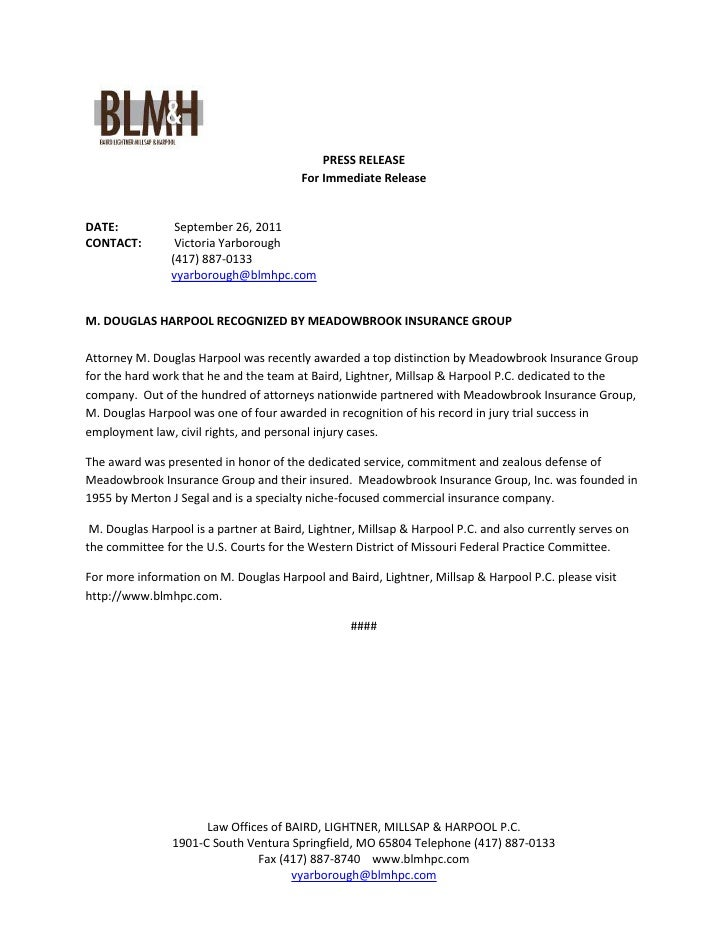 PRESS RELEASE                                         For Immediate ReleaseDATE:            September 26, 2011CONTACT:    ...